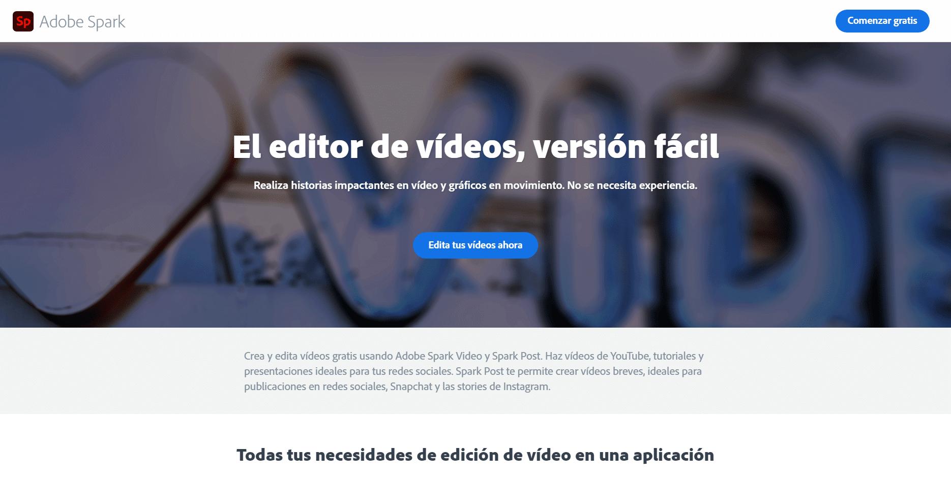 adobe spark - mejor editor de video online gratis