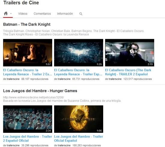 youtube trailers de cine