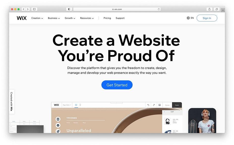 mejor sitio para crear blogs gratis wix
