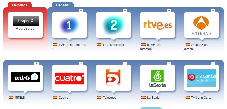 Cadenas de televisión online gratis (más de 2100 canales).