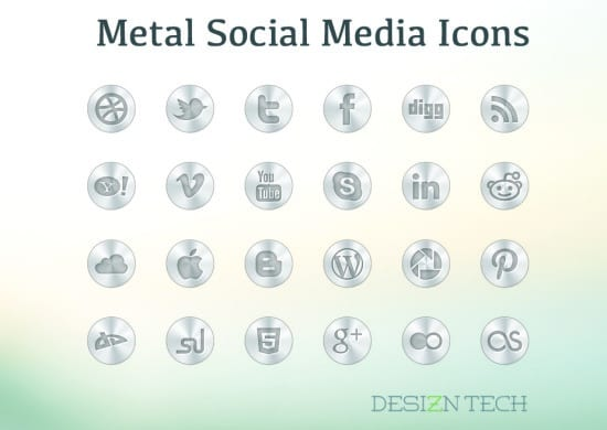 Metal Social Media Icon Set