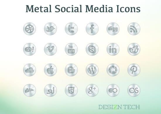 Metal Social Media Icon Set