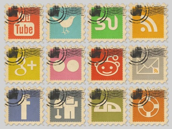 Vintage Social Media Stamps Icon Pack