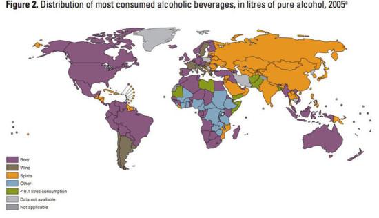 mapa consuno de bebidas alcholicas por paises