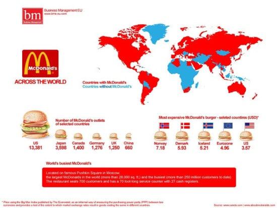 mapa del mundo paises con mcdonalds