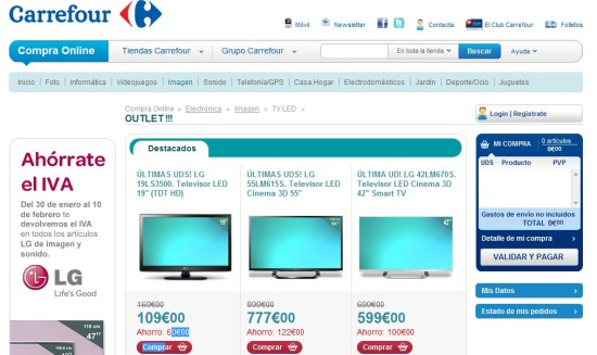 carrefour outlet televisores