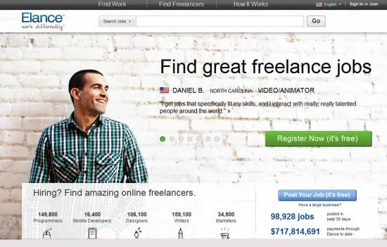 elance - mejores portales para buscar trabajo para freelance