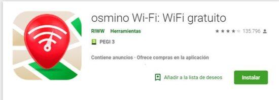 Osmino Wi-Fi gratis app para saber la contraseña