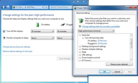 ahorrar energia para acelerar windows 7