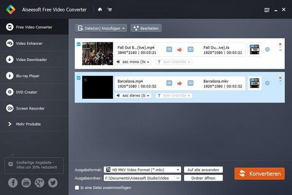 Aiseesoft Free Video Converter - El mejor conversor gratuito de MKV a MP4