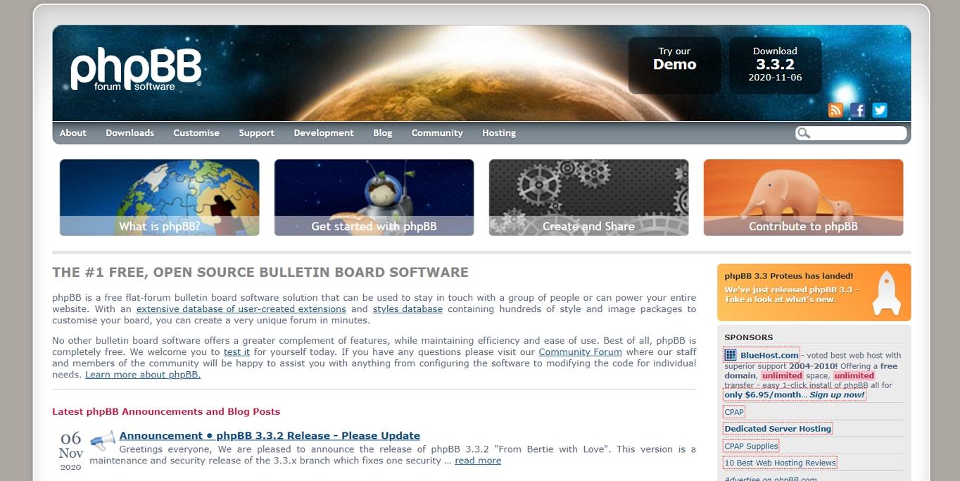 El sitio web del programa de foros phpBB.