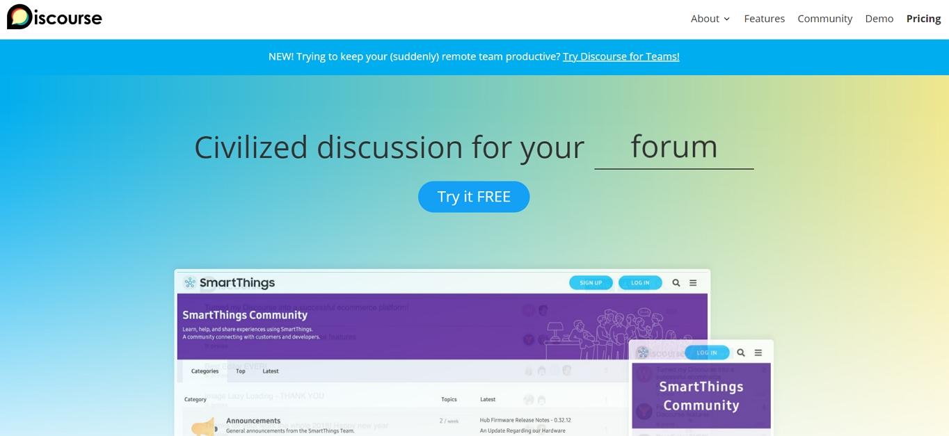 El sitio web de Discourse. Es uno de los mejores software de foros gratuitos.
