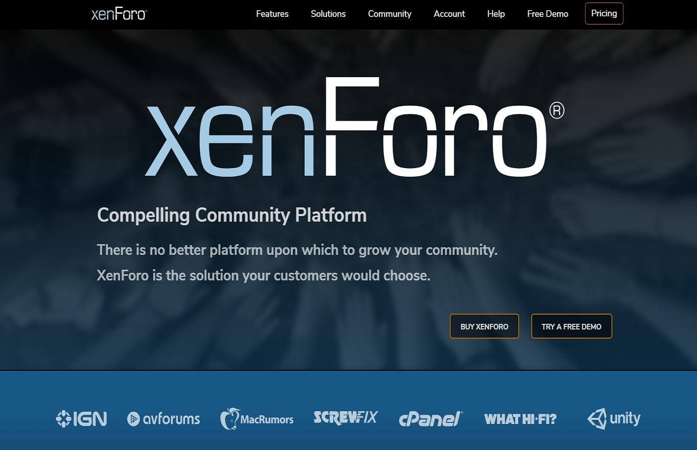 El sitio web de xenForo.