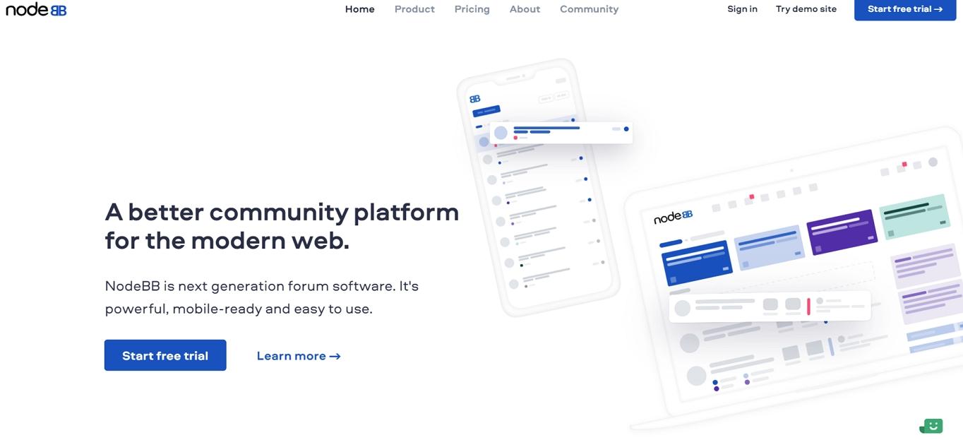 El sitio web de NodeBB.