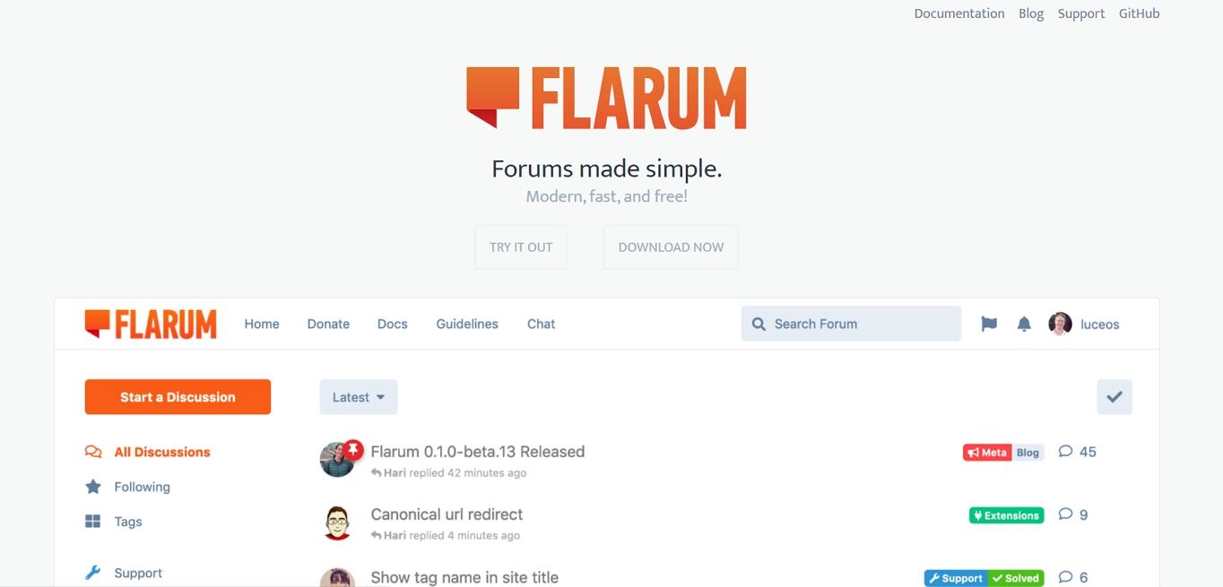 El sitio web de Flarum. Es un software de foro más reciente y gratuito.