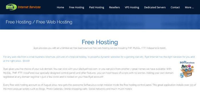 Alojamiento gratuito de WordPress - Byet
