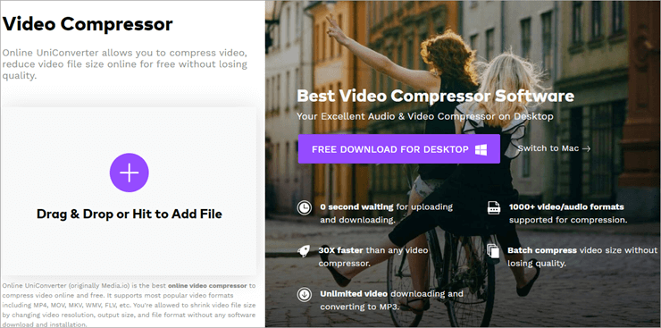 Compresor de vídeo Media.io