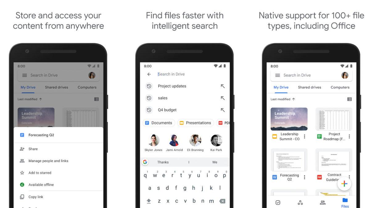 Captura de pantalla de Google Drive 2020