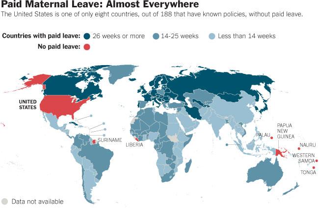 permiso maternal remunerado por país 40 mapas que te ayudarán a entender el mundo