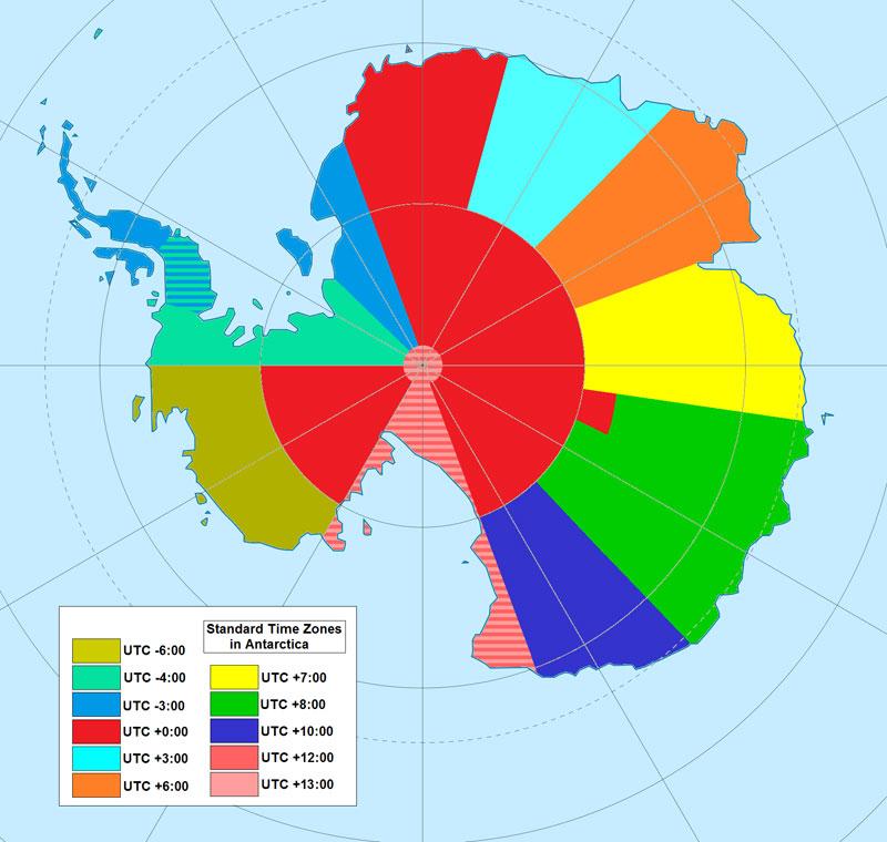 Mapa de zonas horarias en la Antártida