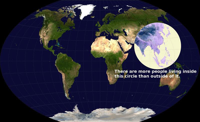 hay más gente viviendo dentro de este círculo que fuera de él 40 Mapas que te ayudarán a entender el mundo