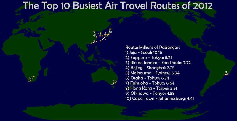 Las 10 rutas aéreas más transitadas de 2012 40 mapas que te ayudarán a entender el mundo