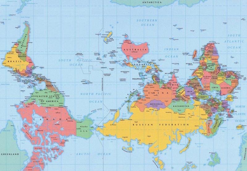 mapa del mundo al revés polo sur en la parte superior 40 Mapas que te ayudarán a entender el mundo