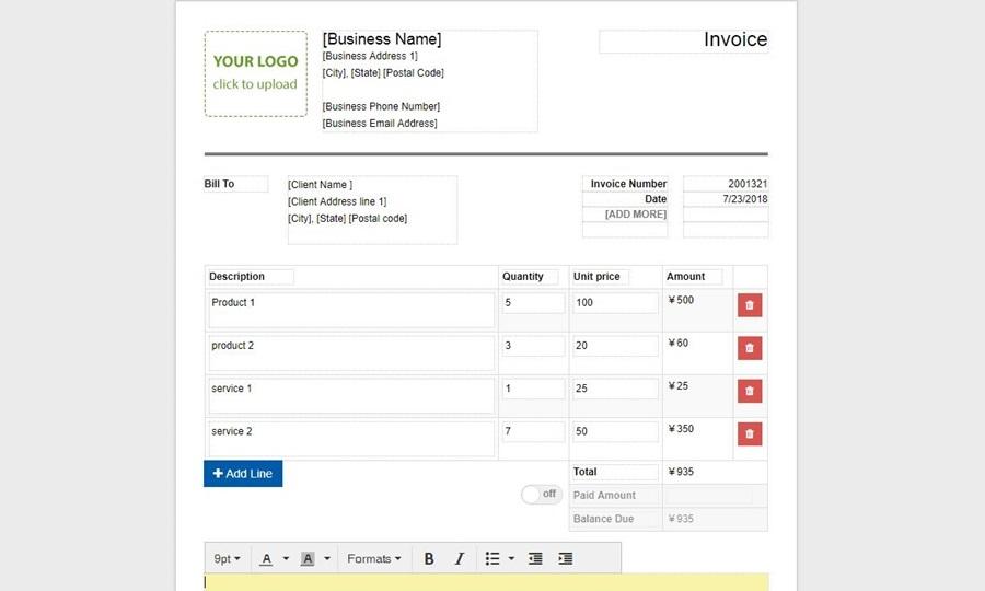 Plantilla de factura de create.onlineinvoices.com
