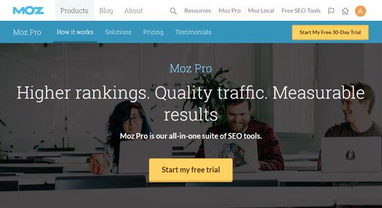 Página de registro de Moz Pro