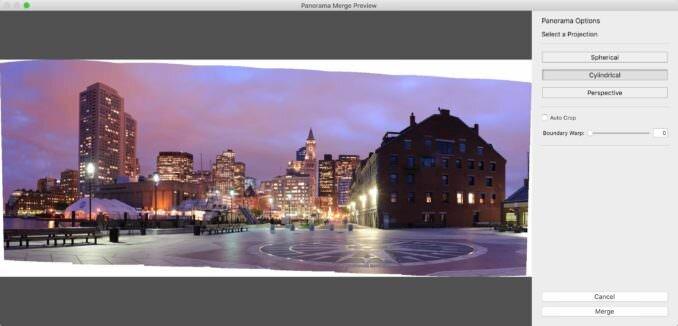 Fusión de fotos de Lightroom Classic para la unión de panorámicas
