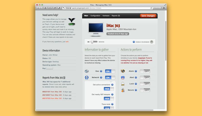 preyproject Software gratuito de seguimiento de la ubicación y captura de WebCam para recuperar portátiles robados