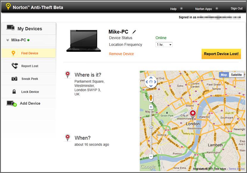 AntiTheft Free Location Tracking and WebCam Capturing Software para recuperar portátiles robados