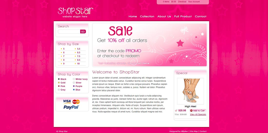 Shop Star - 2 Color HTML and PHP shopping cart website template
