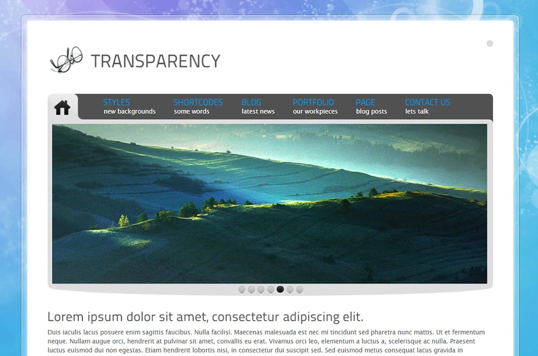 Tranzparency Preview - ThemeForest PHP template for web designers