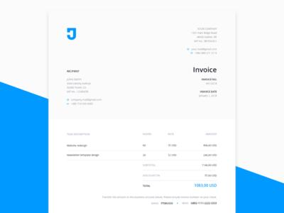 Plantilla de factura gratuita para servicios de diseño