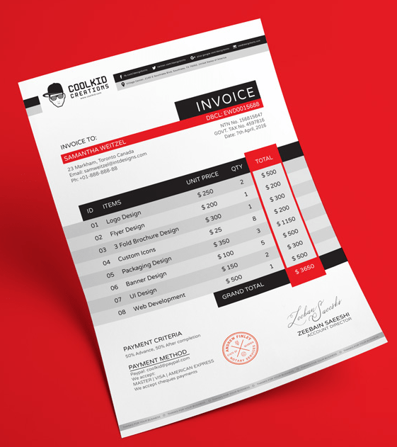 Plantilla de diseño de factura de negocios profesionales gratuitos