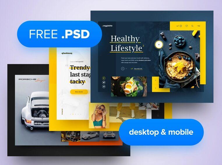 3x Plantilla de encabezado de escritorio móvil gratis PSD