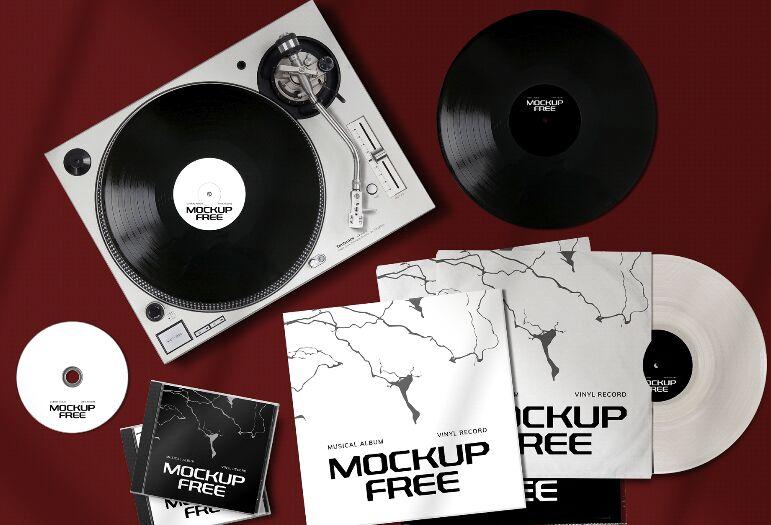 Set de álbum musical gratuito Mockup PSD