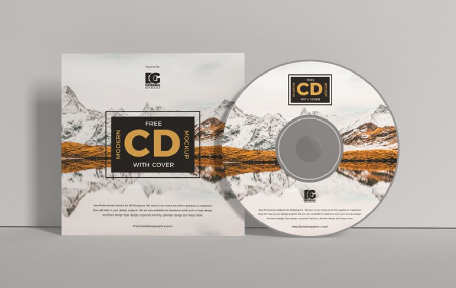 CD Mockup moderno gratis con tapa