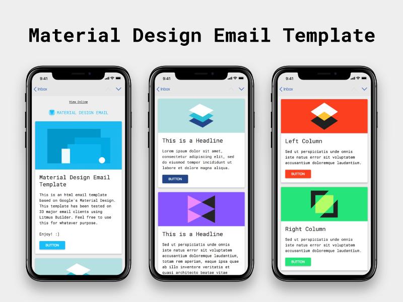 Diseño de material: plantilla de correo electrónico HTML gratuita
