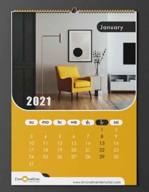 Plantilla de calendario de pared 2021