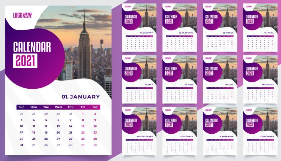 Desk Calendar Template Design 2021 Descarga gratuita
