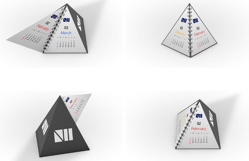 Calendario de pirámides Mockup PSD