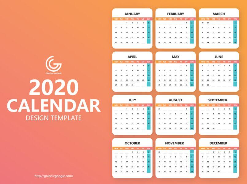 Plantilla de diseño de calendario 2020 gratuita