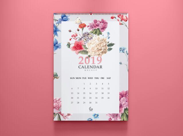 Calendario gratuito 2019 Mockup PSD para Presentation-min