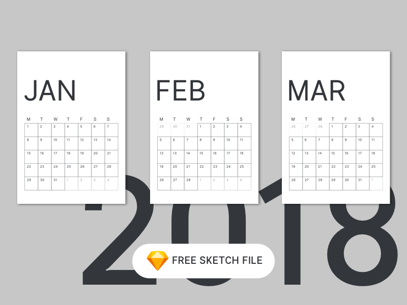 Calendario mínimo 2018 para Sketch