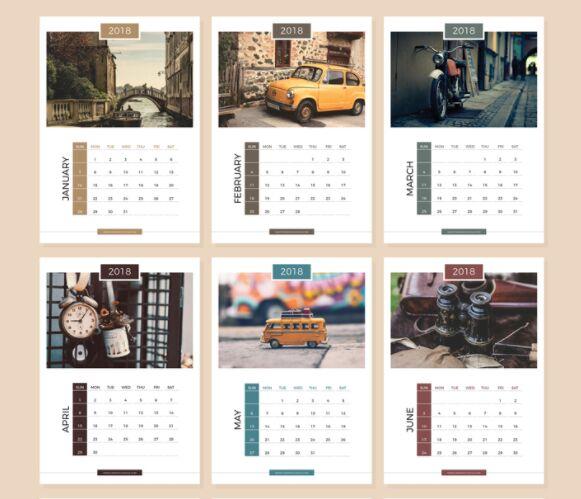 13 páginas gratuitas Plantillas de diseño de calendario 2018 completas