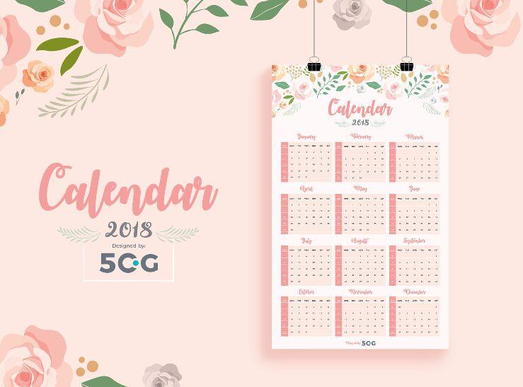 GRATIS gratis Una página 2018 Plantilla de diseño de calendario de pared imprimible