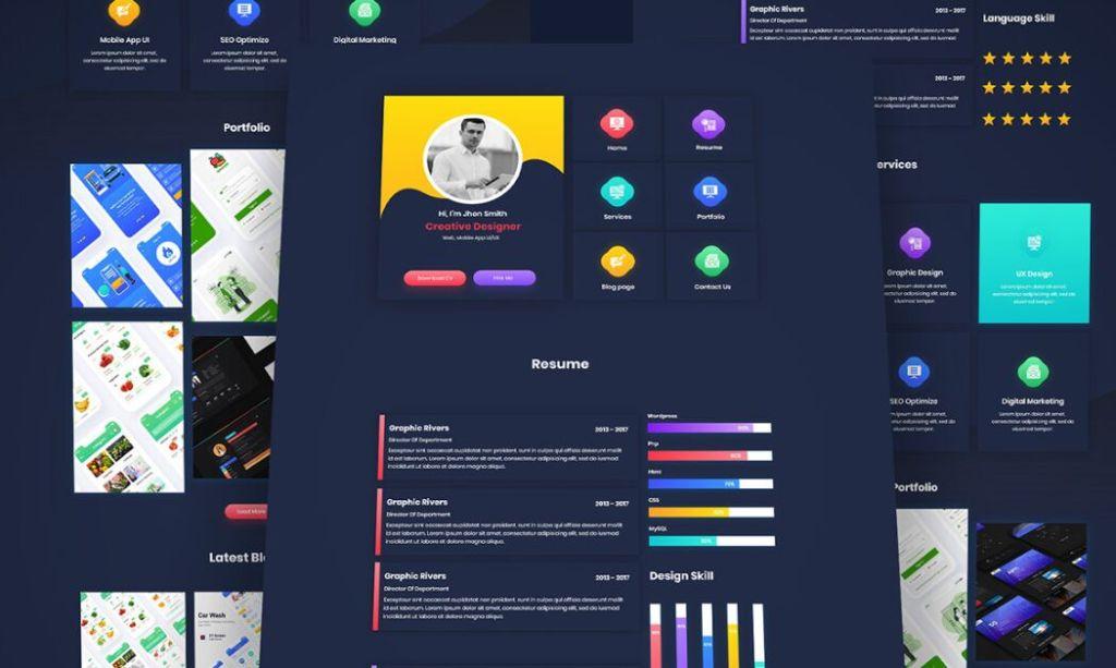 Una página Reanudar plantilla de CV (Adobe XD)