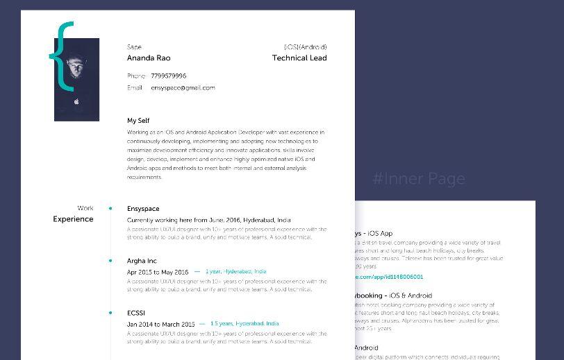 Plantilla PSD de currículum limpio para diseñadores de aplicaciones